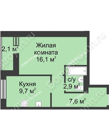 1 комнатная квартира 38,4 м² - ЖК Дом на Иванова