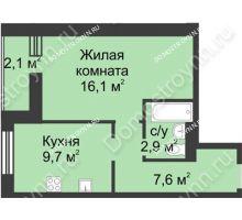 1 комнатная квартира 38,4 м², ЖК Дом на Иванова - планировка