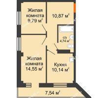 2 комнатная квартира 53,86 м², Жилой дом в 7 мкрн.г.Сосновоборск - планировка