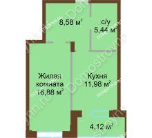 1 комнатная квартира 47 м² в ЖК Солнечный город, дом на участке № 208