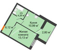 1 комнатная квартира 37,3 м² в ЖК Бунина парк, дом 3 этап, блок-секция 3 С - планировка