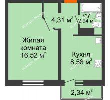 1 комнатная квартира 32,35 м² в ЖК Бурнаковский, дом № 47 - планировка