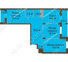 3 комнатная квартира 100,3 м² в ЖК Монолит, дом № 89, корп. 1, 2 - планировка