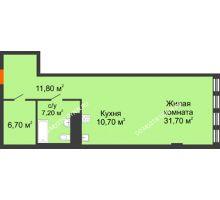 Студия 64,66 м² в ЖК Георгиевский, дом 2а - планировка
