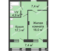 1 комнатная квартира 44 м² в ЖК Планетарий, дом № 7 - планировка