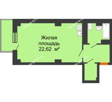 Студия 40,63 м² в ЖК Сокол Градъ, дом Литер 4 - планировка