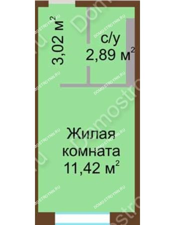 Студия 17,33 м² в ЖК Мой дом на Коломенской, дом № 1