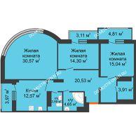 3 комнатная квартира 110,1 м², ЖК Командор - планировка