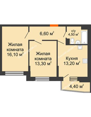 2 комнатная квартира 55,8 м² в ЖК Династия, дом Литер 2