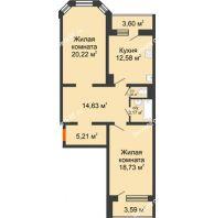 2 комнатная квартира 79,67 м², Жилой дом: №23 в мкр. Победа - планировка