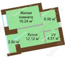 1 комнатная квартира 41,28 м² в ЖК Солнечный город, дом на участке № 214