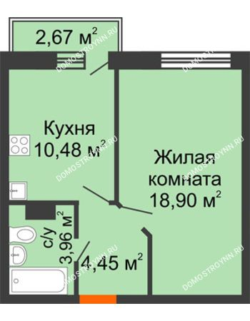 1 комнатная квартира 38,59 м² - ЖК Зеленый берег Life