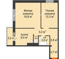 2 комнатная квартира 53,7 м² в ЖК Апрелевка, дом Жилой дом №2, строение 1 - планировка