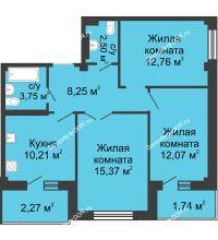 3 комнатная квартира 70,7 м² в ЖК Соловьиная роща, дом № 2 - планировка