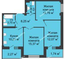 3 комнатная квартира 70,7 м² в ЖК Соловьиная роща, дом № 1 - планировка