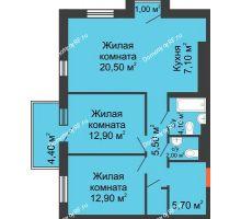 3 комнатная квартира 74 м² в ЖК Новый кленовый, дом № 2(2 этап) - планировка