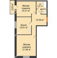 2 комнатная квартира 67,88 м² в ЖК Бограда, дом № 2 - планировка