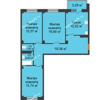 3 комнатная квартира 85,64 м² в ЖК Ясный, дом № 10 - планировка