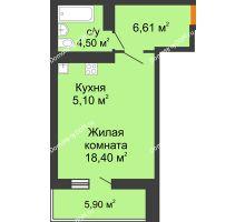 Студия 37,56 м² в ЖК Сокол на Оганова, дом Литер 6 - планировка