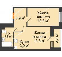 2 комнатная квартира 46,7 м² в ЖК Южный Берег, дом Литер 8 - планировка