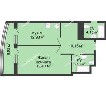 1 комнатная квартира 54,13 м², ЖК Адмирал - планировка