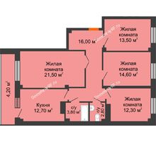 4 комнатная квартира 101,2 м², ЖК GEO (ГЕО) - планировка