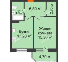 1 комнатная квартира 47,4 м² в ЖК Звездный-2, дом № 4 - планировка