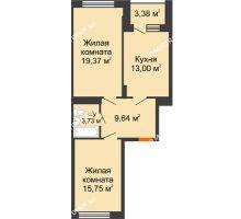 2 комнатная квартира 66,5 м², ЖД Весна - планировка