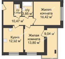 2 комнатная квартира 63,86 м² в ЖК Планетарий, дом № 6 - планировка