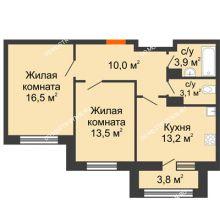 2 комнатная квартира 62,1 м² в ЖК Цветы 2, дом № 7 - планировка