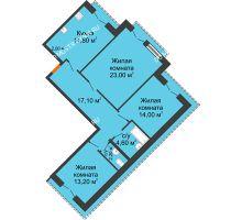 3 комнатная квартира 89,4 м², Жилой дом: г. Дзержинск, ул. Кирова, д.12 - планировка