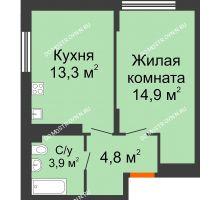 1 комнатная квартира 36,9 м² в ЖК Новая Кузнечиха, дом № 31 - планировка