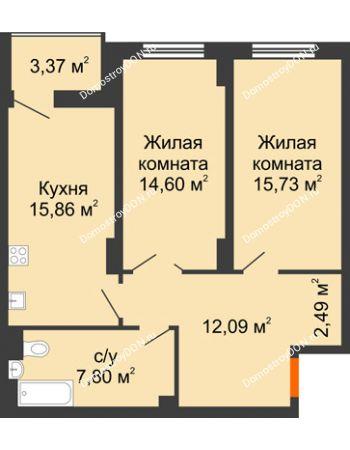 2 комнатная квартира 70,26 м² в ЖК Аврора, дом № 3