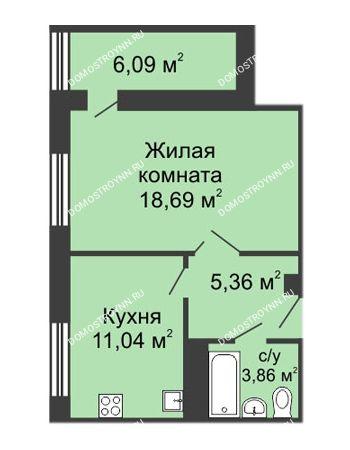 1 комнатная квартира 42,79 м² в ЖК Облака, дом № 1