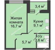 1 комнатная квартира 36,8 м² в ЖК Цветы, дом № 11 - планировка