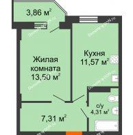1 комнатная квартира 37,85 м² в ЖК Свобода, дом № 1 - планировка