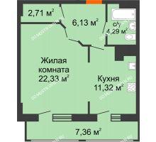 1 комнатная квартира 54,14 м² в ЖК Покровский, дом № 1 - планировка