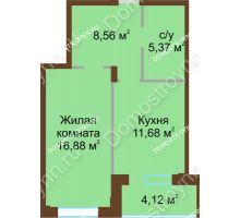 1 комнатная квартира 46,39 м² в ЖК Солнечный город, дом на участке № 208