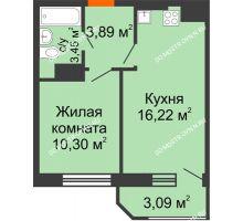 1 комнатная квартира 36,95 м² в ЖК Город времени, дом № 18