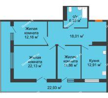 3 комнатная квартира 94,9 м² в ЖК Королев, дом №1 (1,2, подъезд), 1-ая очередь - планировка