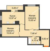 2 комнатная квартира 59,74 м² в ЖК Рассвет, дом № 10 - планировка