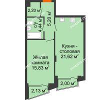 1 комнатная квартира 50,53 м², Клубный дом на Ярославской - планировка
