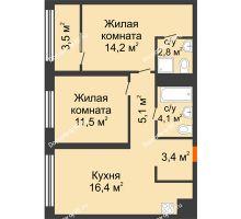 2 комнатная квартира 59,2 м² в Квартал Новин, дом 6 очередь ГП-6 - планировка