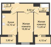 2 комнатная квартира 63,2 м² в ЖК Первый, дом Литер 1 - планировка