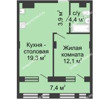 1 комнатная квартира 43,4 м² в ЖК Планетарий, дом № 7 - планировка