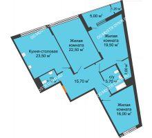 3 комнатная квартира 115,1 м² в ЖК Маршал Град, дом № 3 - планировка