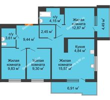 3 комнатная квартира 76,37 м² в ЖК Все свои, дом Литер 5 - планировка