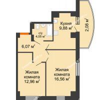 2 комнатная квартира 56,44 м² в ЖК Университетский 137, дом Секция С1 - планировка