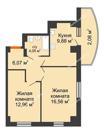 2 комнатная квартира 56,44 м² в ЖК Университетский 137, дом Секция С1