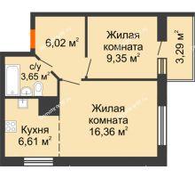 2 комнатная квартира 45,28 м² в ЖК На Хмельницкого, дом № 3 - планировка